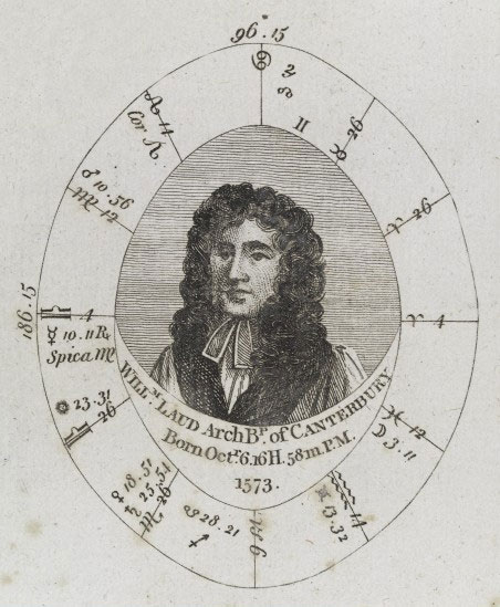 Sibly's horoscope for William Laud, Archbishop of Canterbury