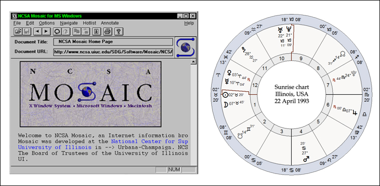 The original public web-browser: Mosaic, v.1.1, launched April, 22nd, 1993, with a new Moon, Mercury in Aries opposed to retrograde Jupiter in Libra, and a detrimented Mars in Cancer opposing the Uranus/Neptune conjunction in Capricorn