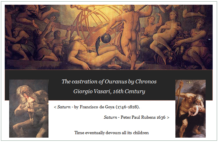'The Castration of Ouranus by Chronos', Giorgio Vasari, 16th century; 'Saturn', by Franciso de Goya, 18th century; 'Saturn' by Peter Paul Rubens, 1636.
