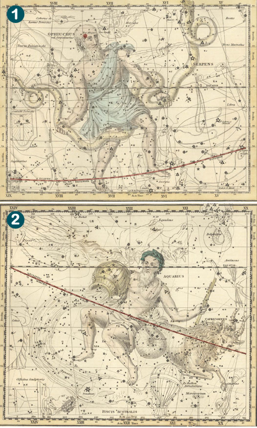 the constellations Ophiuchus, Aquarius and Capricorn